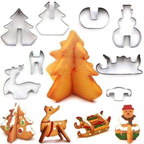 Alimao 3D Ausstechform, Lieblings-Urlaubsformen einschließlich Hirsch, Schneemann, Weihnachtsbaum und Schlitten