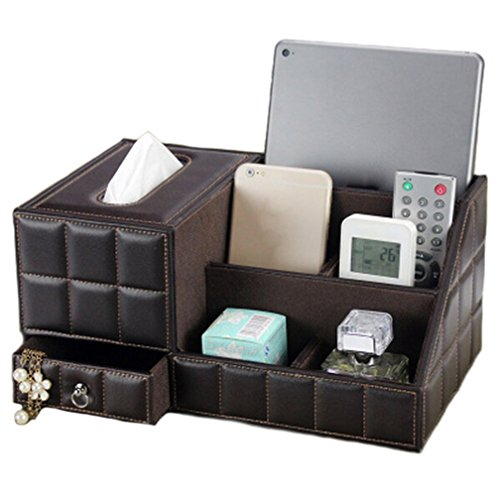 efbbq-brown-leather-tv-remote-control-holder-organizer-tissue-box-controller-tv-guide-mail-cd-organi
