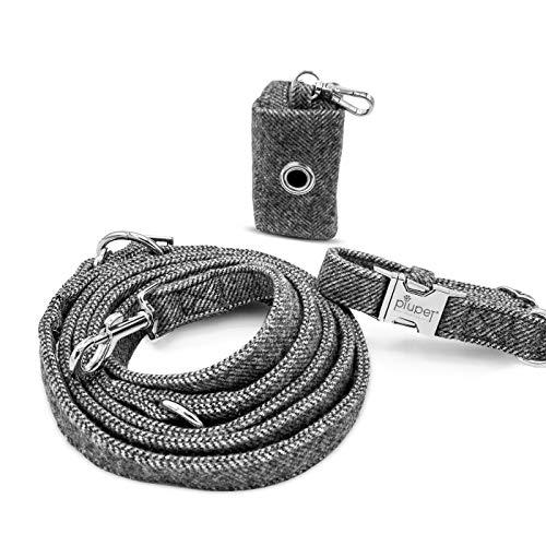 PiuPet® Hundeleine Set mit Halsband, Leine (2m) und Kotbeutelspender, Stilvolle Hunde Leine mit Hundehalsband und Hundekotbeutel Spender | Größe M/L (Halsumfang 41-66cm)