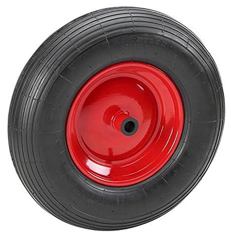 Meister Schubkarrenrad 400 mm ✓ 100 kg Tragkraft ✓ Vollgummi ✓ Pannensicher ✓ Stahlfelge | Ersatzrad | Vollgummi-Rad für Schubkarren | Schubkarrenreifen | Vollgummireifen mit Felge |