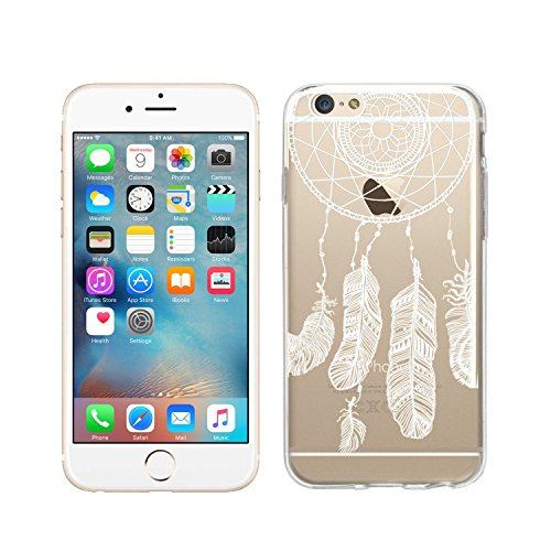 wortek Designer High Quality TPU Silikon - Case Schutzhülle Transparent mit Logo Motiv für Apple iPhone 6 / 6S (Schmetterling 1) Indianer Feder
