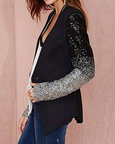 ZongSen Donna Sottile Fit Paillettes Cardigan Giacche Blazer Suit Coat Jacket Top Outwear Nero S Nero