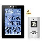 Excelvan - Estación Meteorológica Inalámbrica (Digital RCC Radio Control Reloj, Termómetro, Higrómetro, con Sensor, Alarma Dual)
