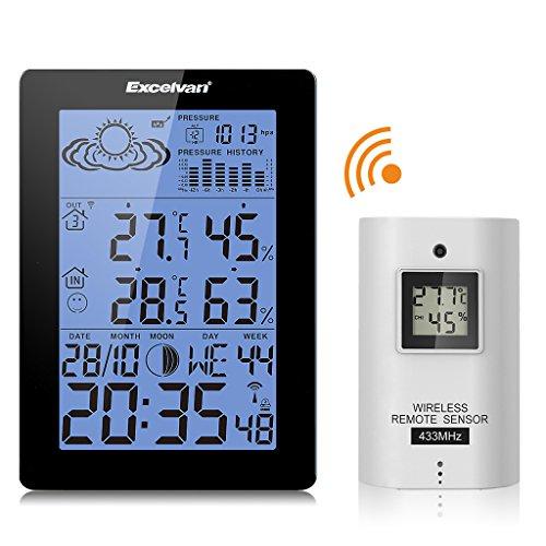 EXCELVAN Funkwetterstation wetterstation LCD Tabla Thermometer Außensensormit Präzisionsvorhersage Temperatur Feuchte Mond Barometer Schwarz
