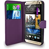 HTC One M8 - Leather Wallet Flip Case Cover Pouch + Mini Touch Stylus Pen + Screen Protector & Polishing Cloth ( Dark Purple )