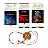 #2: Combo of Lindt Excellence (Chilli + 70% Cocoa + Sea Salt Touch) Chocolate 100 Grams Combined With Combo of 3 Indian Flag Brass Laminated Lapel Pin / Brooch / Badge for Clothing Accessories