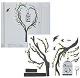 Unbekannt XXL Wandtattoo / Sticker - Vogelkäfig mit Baum und Ästen - Zweig Ast Vögel - selbstklebend für Wohnzimmer und Deko Wandsticker Aufkleber Bäume Vogel