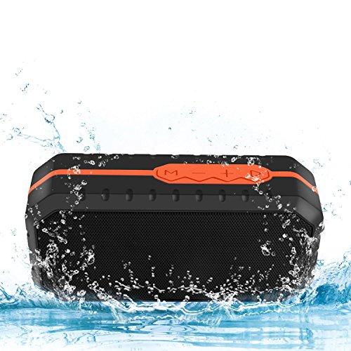 serdichter Bluetooth Lautsprecher Speaker Boombox mit 1800mAh Batterie für iPhone, iPad, Samsung, Nexus, HTC und andere Android Geräte (orange) (Wasserdichte Boombox)