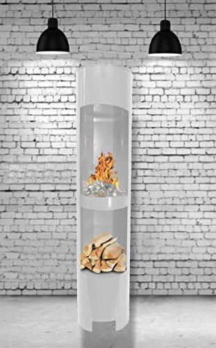 Gelkamin Ethanolkamin Modell Säule 180 cm hoch / Weiss / Mit Holzfach / Breite: 37 cm / Höhe: 180 cm / Tiefe: 35 cm / Für den Betrieb mit Bioethanol oder Brenngel / Material: Metall, Pulverbeschichtet / Heizleistung: Etwa 3,5 KW. / Inklusive: 3 wieder-befüllbare Brennstoff-Behälter / Weder Ruß noch Dreck / Sparsamer Verbrauch / Wartungsfrei