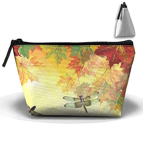 Trapezoidal Toiletry Pouch Makeup Travel Cosmetic Bag Watercolor Dragonfly Pattern Portable Phone Coin Storage