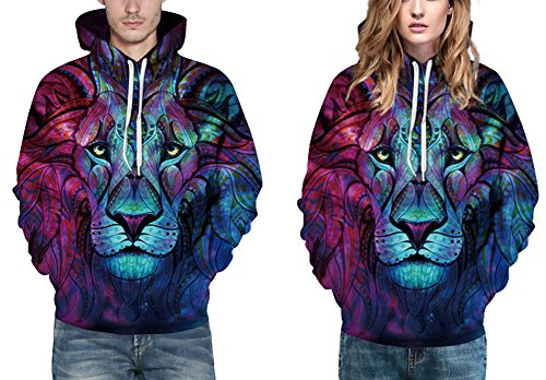 EmilyLe Herren digitaldruck Galaxy Bunt Sweatshirt Langarm Kapuzenjacke mit Tier Muster Frühling Jumper Fashion Pullover bunte Löwe
