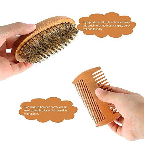 Anself-Mens-Beard-Brush-Comb-Kit-Boar-Bristles-Mustache-Shaving-Brush-Bamboo-Beard-Comb-Male-Facial-Hair-Brush-Set