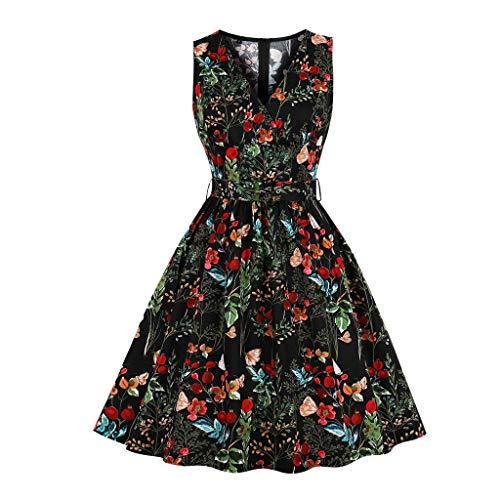 Sonojie Fashion Women Ärmelloses Kleid mit V-Ausschnitt und Blumenmuster (Pony-clearance Little My)