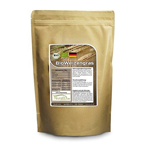 Nurafit Weizengras Pulver BIO | in Deutschland angebaut, verarbeitet und BIO zertifiziert | 500g / 0.5kg zertifizierte Spitzenqualität | Für leckere Smoothies während Deiner Detox Smoothie Kur (Bio-bienenhonig)
