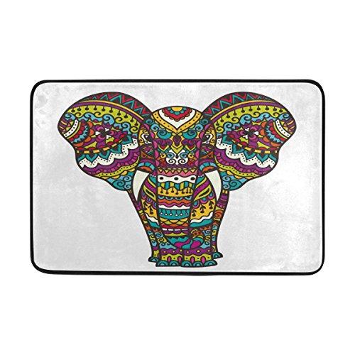 Badteppich, Elefant Animal Print rutschfeste Antischimmel-Einfach Dry Fußmatte Teppich für Dusche Raum Badezimmer Tür Indoor Outdoor Weiß 58,4x 38,1cm (Tür-matte Animal-print)