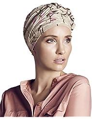 Gorro Azure diseño Helena Christensen estampado magnolia beige para mujeres en tratamiento de quimioterapia -edición limitada-