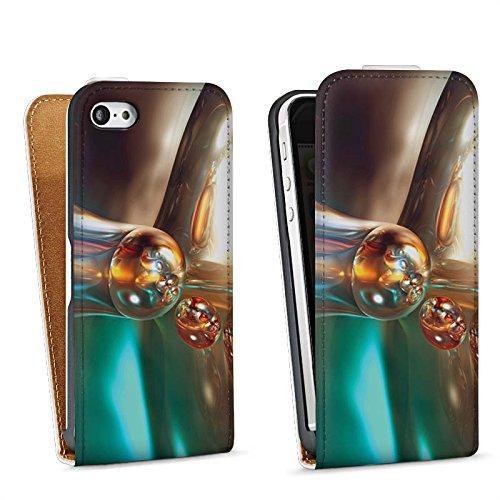 Apple iPhone 4 Housse Étui Silicone Coque Protection Bulles Bulles Chrome Sac Downflip blanc