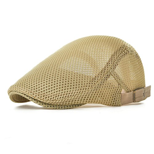 29845ddf78568 VOBOOM Men Breathable Mesh Summer Hat Adjustable Newsboy Beret IVY Cap  Cabbie Flat Cap MZ124 (Khaki)
