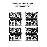 StickersLab - Adesivi allarme GPS antifurto satellitare per evitare i furti auto moto camion caravan (Quantità - 8 Pezzi (6x3cm))