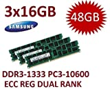 48GB Triple Channel Kit Samsung (Mihatsch & Diewald) 3 x 16GB DDR3 1333Mhz PC3-10600R 240pin, ECC, Dual Rank, 1.5V, CL9 with Thermal Sensor für MacPro 4,1 5,1 und Xeon Server Systeme