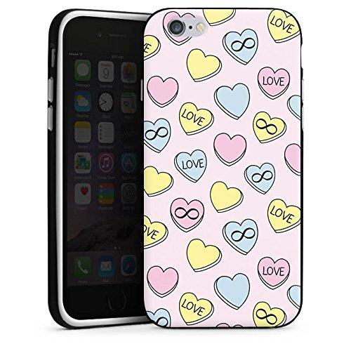 Apple iPhone X Silikon Hülle Case Schutzhülle Love Herzen Bunt Silikon Case schwarz / weiß