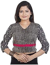 839a88195c6e0e tantkatha Women Cotton Print Black Color Pinted Elobw Sleeve V Neck Front  Closure Blouse