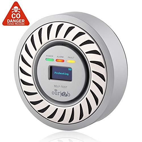 CO Melder kohlenmonoxid warnmelder, elektrochemischer Sensor CO Warnung, USB Lithium Akku CO Gas Prüfvorrichtung, Kohlenmonoxid Monitor mit OLED Digitalanzeige für Haus/Privatwagen/Garage(Silbergrau)