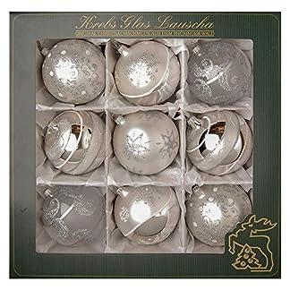 Krebs Glas Lauscha 9bolas de Navidad de cristal de terciopelo plateado