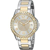 ساعة يد كاجوال من جيس للنساء مصنوعة من الستانلس ستيل ومرصعة بالكريستال NS Silver Tone/Gold Tone