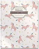 DÉKOKIND Zeichenbuch: DIN A4, 122 Seiten, Register, Vintage Softcover | Dickes Blanko-Notizbuch zum Selbstgestalten | Motiv: Einhörner