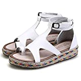 Women Sandals Fashion Straw Shoes Woman Summer Wedges Sandals Ankle Strap Casual Ladies Flat Sandals White 9.5