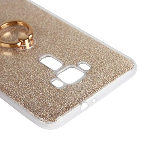 Luxus Bling Sparkle Style Case, Soft TPU [Silikon] Flexible Glitter Back Cover [Anti Scratch] mit Fingerring Stand für Asus ZE552KL ZenFone3 ( Color : White ) Gold