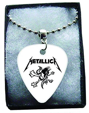 Metallica Logo Metal Guitar Pick Necklace Ball Chain Collier Médiator