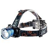 Foco Frontal Linterna LED GRDE Super Brillante Linterna Frontal 1800 Lúmenes Zoomable Linterna Frontal de Cabeza LED Para Caza, Pesca, Correr, Ciclism