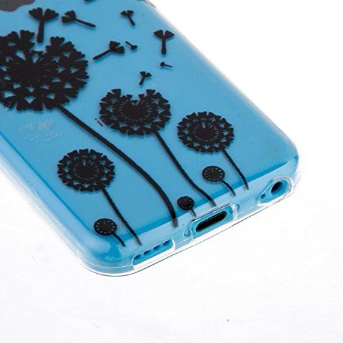 Etsue Case Pour iPhone 5C,Ultra-minces TPU Silicone Coque Black Ananas pattern Case Pour iPhone 5C,Diux Chir Housse Noir Motif Cover pour iPhone 5C + 1 x Bleu stylet + 1 x Bling poussière plug (couleu Pissenlit