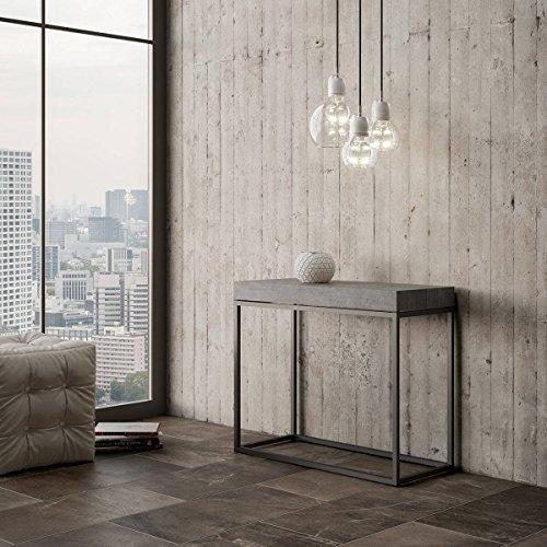 Itamoby consolle allungabile in legno e ferro h77x40x90/300cm nordica cemento classica