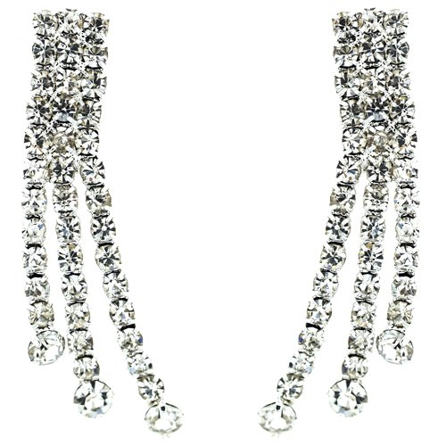 Clip On Earrings Store Ohrklips Dekodiamanten Kristall silberfarben 3 Stränge, zum Anklippen