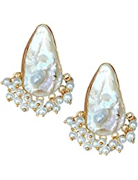 22K GOLD PLATED BRASS HAND MADE TRADITIONAL PEARL STYLISH EARRING FOR WOMEN AND GIRLS FOR PARTY WEDDING WEAR AND...