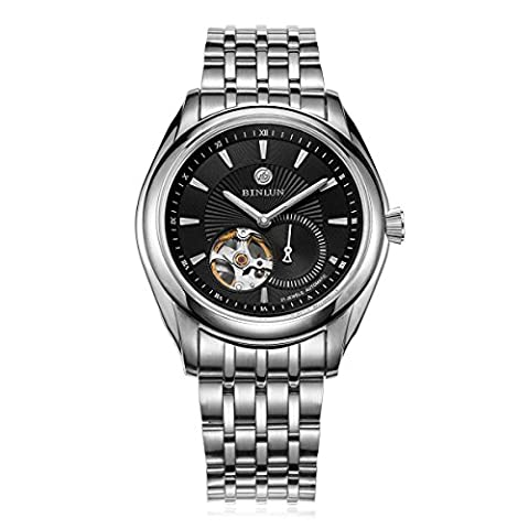 Binlun Gents Skeleton Japan Mechanic Black Dial Stainless Steel Chronon Light Up Casual Wristwatch 38mm