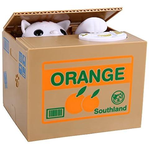 Zantec Elektronische automatische Stehlen Münze Katze Box Piggy Bank White Kitty Sparbüchse Spielzeug & Home (12 Magische Münze)