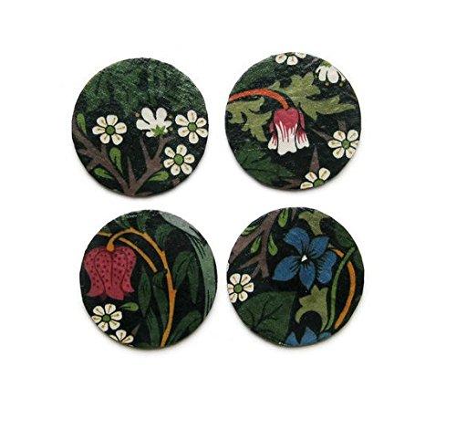 William Morris Blackthorn Battle Kunst und Handwerk grün, pink Mid 60er Vintage Stoff Découpage-Set von vier Untersetzer Kork Getränke Mats.