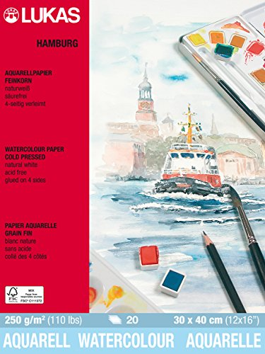 Lukas HAMBURG Aquarellpapier, 30x40cm, 250g/m², 20 Blatt Block.