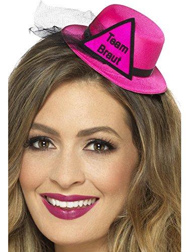 Smiffys Team Braut Hut Hütchen Fascinator, pink mit Dreieck und Schrift in schwarz, angedeuteter Schleier, mit Haarclip, 1x1 Stück