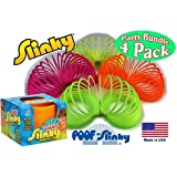 POOF-Slinky Original Plastic GIANT Slinky Neon Colors Green, Orange, Pink & Yellow Gift Set Party Bundle - 4 Pack