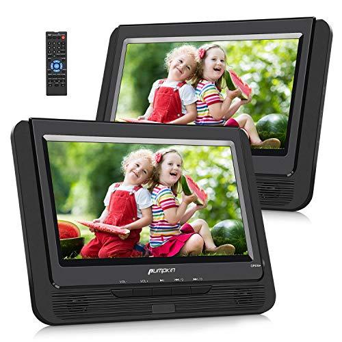 Pumpkin Lecteur DVD Double Ecran Voiture 9 Pouce (Un Lecteur DVD Un Moniteur) Autonomie de 5 Heures supporte Région Libre USB SD MMC avec Sangles de Fixation