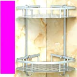 AEVEL Bathroom Shelf Nail Free Shower Caddy Double-Deck Storage Basket with Hooks Rustproof Sturdy, Suitable for all Kinds of Walls Aviation Aluminum Lead Free Max Loading 90KG (Triangle)