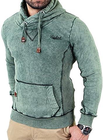 Reslad Herren Dirty Vintage Style Kapuzen Pullover Hoody RS-1151 Khaki XL