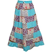 Mogul Interior Women's Long Skirt Patchwork Stylish Printed Rayon Boho Gypsy L