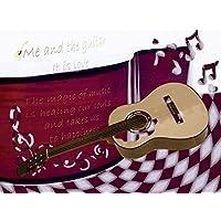 Artland Decorativo in Vetro Float immagine di musica e Lounge Bar Heidemarie Andrea Sattler: La Chitarra E I dimensioni: 60x 80cm grande selezione nel nostro negozio