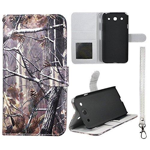 Camo Kiefer Camo Flip Wallet Kreditkarte Halter LG Optimus G Pro E980PU (Poly) Synthetisches Leder Tasche mit ID Slot Schutzhülle Hard Case Sony Fällen Gummierte Touch Displayschutzfolie Blenden